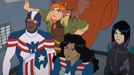 PATRIOT, SQUIRREL GIRL, TIPPY-TOE, AMERICA CHAVEZ, QUAKE