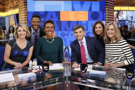 AMY ROBACH, MICHAEL STRAHAN, ROBIN ROBERTS, GEORGE STEPHANOPOULOS, GINGER ZEE, LARA SPENCER