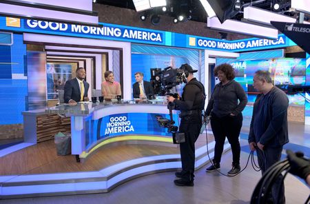 MICHAEL STRAHAN, ROBIN ROBERTS, GEORGE STEPHANOPOULOS, CREW