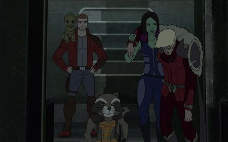 GROOT, STAR-LORD, ROCKET, GAMORA, COLLECTOR