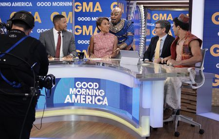 MICHAEL STRAHAN, ROBIN ROBERTS, GENIE, GEORGE STEPHANOPOULOS, ALADDIN