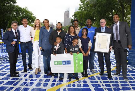 GEORGE STEPHANOPOULOS, TJ HOLMES, LARA SPENCER, ROBIN ROBERTS, CHARLES REYES AND FAMILY, MAYOR JIM KENNEY,  MICHAEL STRAHAN