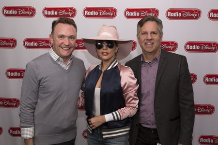 SEAN COCCHIA (EXECTUIVE VICE PRESIDENT, BUSINESS OPERATIONS AND GENERAL MANAGER, DISNEY CHANNELS WORLDWIDE), LADY GAGA, PHIL GUERINI (VICE PRESIDENT, MUSIC STRATEGY, DISNEY CHANNELS WORLDWIDE AND GENERAL MANAGER, RADIO DISNEY NETWORK)