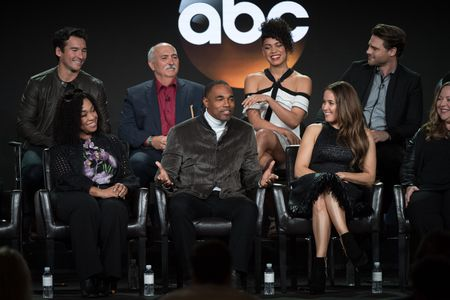 (FRONT ROW) SHONDA RHIMES (EXECUTIVE PRODUCER), JASON GEORGE, JAINA LEE ORTIZ, STACY MCKEE (EXECUTIVE PRODUCER), (BACK ROW) JAY HAYDEN, MIGUEL SANDOVAL, BARRETT DOSS, GREY DAMON