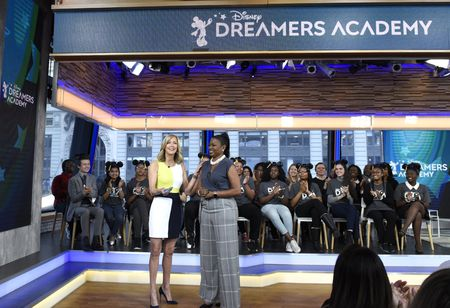 LARA SPENCER, TRACEY POWELL (VP OF DISNEY PARKS), DISNEY DREAMERS ACADEMY