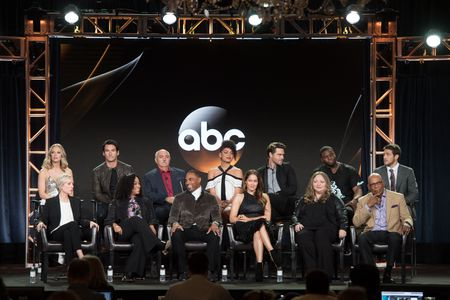 (FRONT ROW) BETSY BEERS (EXECUTIVE PRODUCER), SHONDA RHIMES (EXECUTIVE PRODUCER), JASON GEORGE, JAINA LEE ORTIZ, STACY MCKEE (EXECUTIVE PRODUCER), PARIS BARCLAY (EXECUTIVE PRODUCER), (BACK ROW) DANIELLE SAVRE, JAY HAYDEN, MIGUEL SANDOVAL, BARRETT DOSS, GR