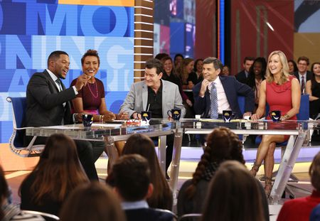 MICHAEL STRAHAN, ROBIN ROBERTS, CHARLIE SHEEN, GEORGE STEPHANOPOULOS, LARA SPENCER