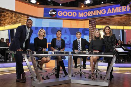 MICHAEL STRAHAN, AMY ROBACH, ROBIN ROBERTS, GEORGE STEPHANOPOULOS, LARA SPENCER, GINGER  ZEE