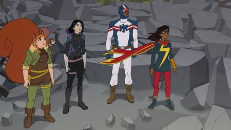 SQUIRREL GIRL, TIPPY-TOE, QUAKE, PATRIOT, MS. MARVEL