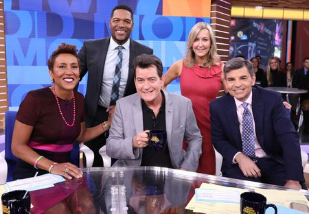 ROBIN ROBERTS, MICHAEL STRAHAN, CHARLIE SHEEN, LARA SPENCER, GEORGE STEPHANOPOULOS