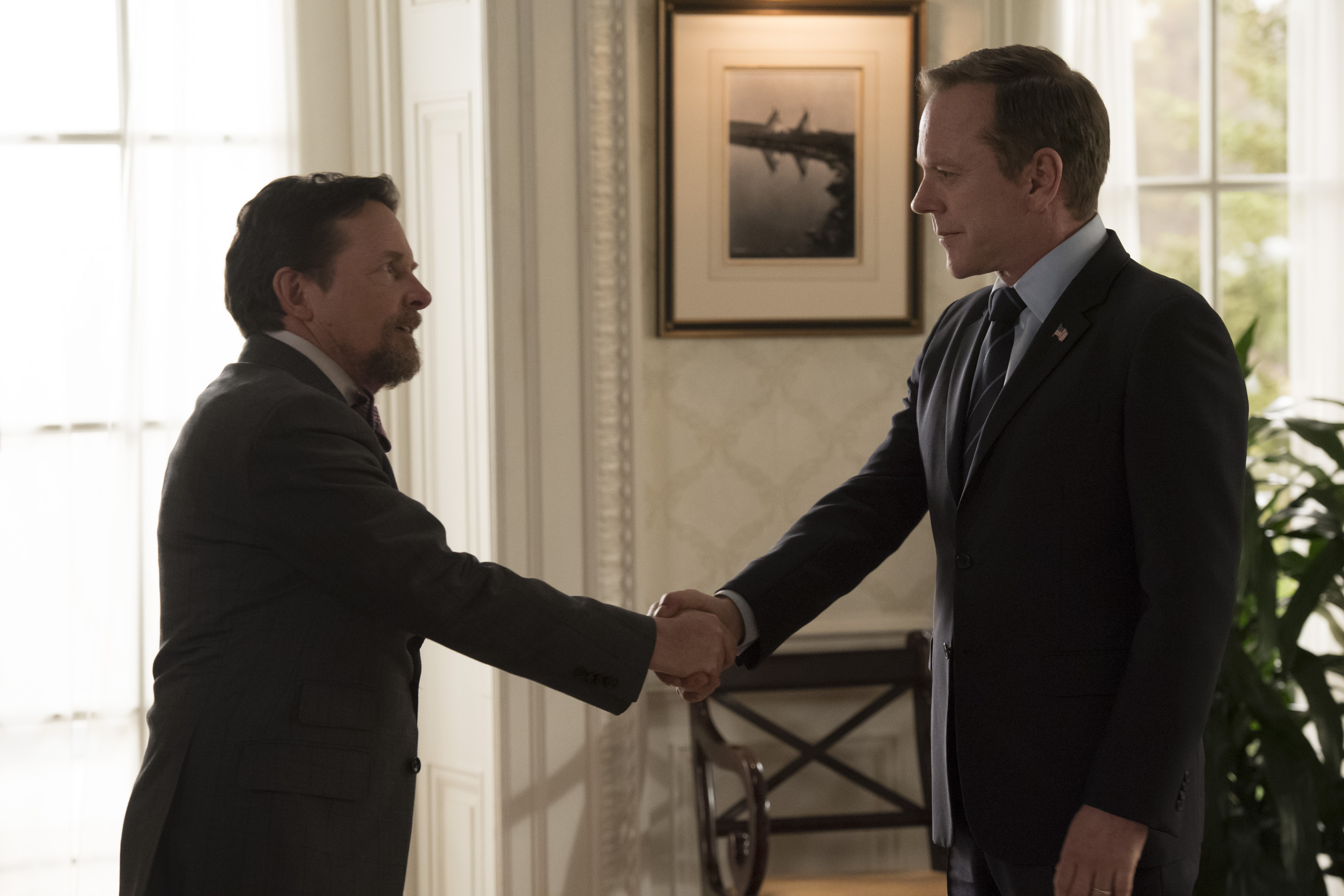 """MICHAEL J FOX KIEFER SUTHERLAND Episode 218 """"Kirkman Agonistes"""" Air Date 04 18 2018 4658 Add to Cart Download"""